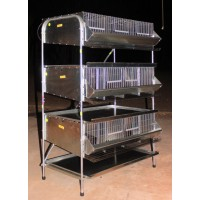 "36"" 3 Tier Breeding Quail Cage (7 Sections) PVC floor"