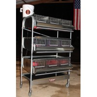 "36"" 3 Tier Breeding Quail Cage (9 Sections) PVC floor"