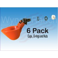 6 AUTOMATIC WATERER DRINKER CUPS WITH NUT O-RING & WASHER CHICKEN COOP POULTRY
